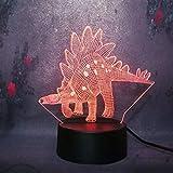 olwonow Nuevo Jurassic Park 3D Dinosaurio Stegosauria Night Light Boy Favorito LED7 Cambio de Color Remoto/táctil Navidad Boy