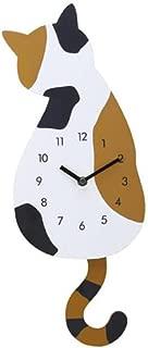 FTXJ Cute Cat Silence Wall Clock Tail Pendulum Clock Home Room Decor (C)