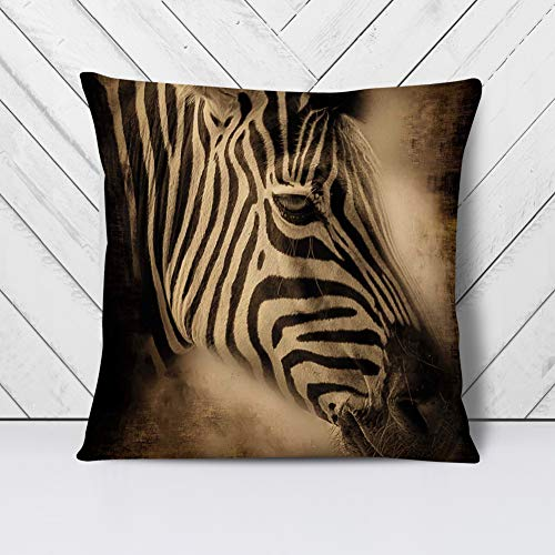 Big Box Art Cushion and Cover - Zebra Face - Single Square Throw Pillow - Soft Faux Suede Material - Double-sided - 40x40 cm