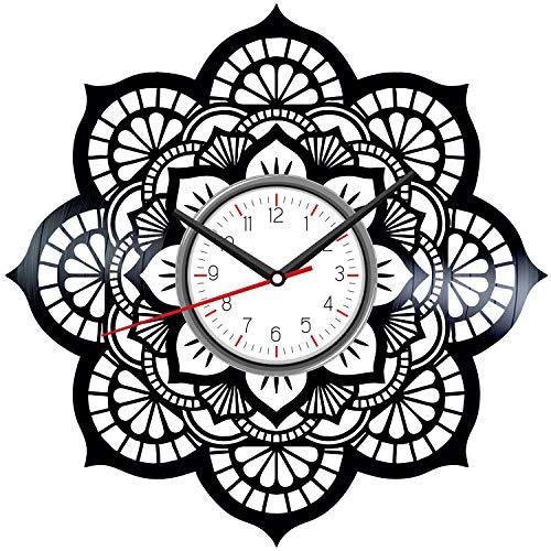 Mandala Flower Black Vinyl Clock - Vintage Room Kitchen Bedroom Decor - Vinyl Record Gift Idea for Birthday Christmas Hanukkah - Unique Vintage Wall Art - Personalized Home Decoration - 12 Inch