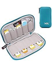 BOJLY Förvaringspåse med minneskort, organiseringsfodral för elektroniktillbehör i nylon vattentätt vadderat skyddande fodral med kapacitet för USB-nyckel, hörlurskabel och extern hårddisk,, 6 Capacities, gRÖN