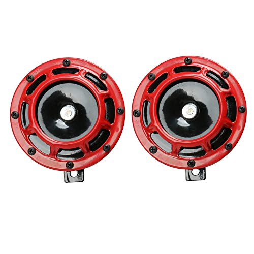 Novelbee 12V 110db Electric Super Horn with Bracket,High Tone and Low Tone Metal Twin Horn Kit for Boat,Car,Truck,Motorcycle (Red)