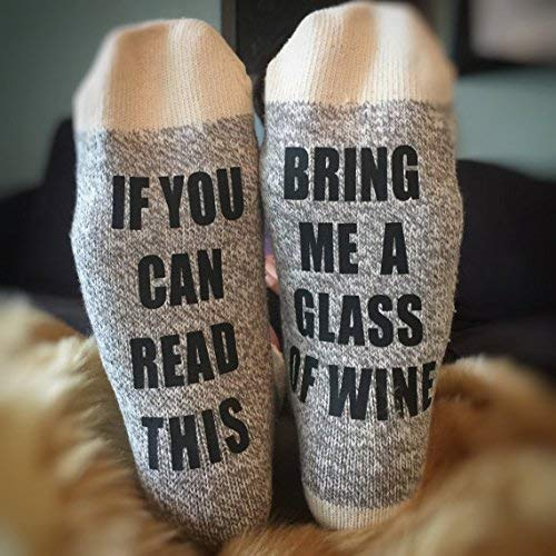 Wine Socks Christmas Gift If You Can Read This Bring Me a Glass of Wine