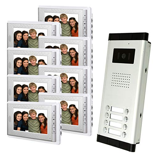 Amocam 8 Units Apartment Intercom Wired 7 Inch Monitor Video Intercom Doorbell Door Phone Audio Visual Intercom Entry Access System
