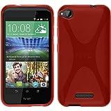PhoneNatic Case kompatibel mit HTC Desire 320 - rot Silikon Hülle X-Style + 2 Schutzfolien