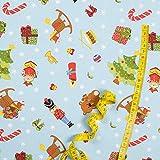 Hans-Textil-Shop Stoff Meterware Christmas Hellblau