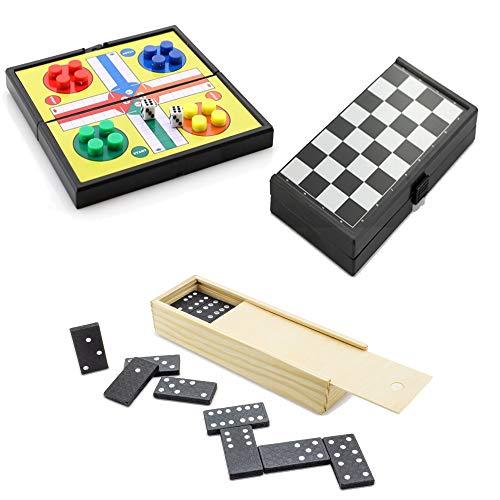 Partituki Pack Juegos de Mesa Clásicos Incluye: Mini Parchís, Mini Damas y Dominó