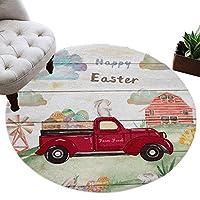 カーペット 円形 ラグマット イースター エッグ 農場 倉 うさぎ 木の板 じゅうたん シャギーラグ 絨毯 ふわふわ マイクロファイバー 防音 滑り止め付 床暖房 ホットカーペット対応 おしゃれ 直径 100cm