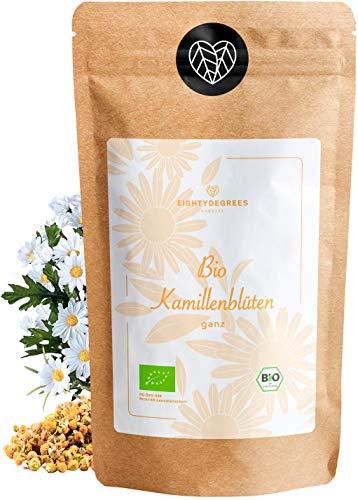 BIO Kamillenblüten Tee - Kamillen Tee - 100% ganze Kamillenblüten, naturbelassen - Premium Bio-Qualität - geprüft und abgefüllt in Deutschland (DE-ÖKO-39)   80DEGREES (250g)