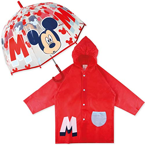 Paraguas Transparente Infantil y Chubasquero Pack Mickey Mouse – Paraguas Infantil Burbuja y Chubasquero Niño Impermeable con Capucha | Pack Paraguas Transparente e Impermeable para Vuelta al Cole