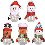 LIUTIAN Navidad Caramelo Tarro, Santa Snowman alk Transparent plástico Caramelo Botella de Regalo, Regalo de Fiesta de Navidad (Color : 5 Style, Size : 5 Pcs)