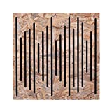 keyhelm - pannello fonoassorbente in legno osb sagomato e poliuretano per medio alte frequenze | pannello per correzione acustica di design, 60x60x6cm, densità 25 kg/m³ | made in italy (naturale)