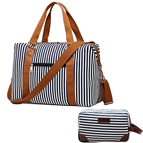 IBLUE 17 IN Weekender Bags Canvas Leather Duffle Bag Overnight Travel Carry...
