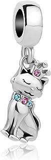 Q&Locket Love Cute Cat Charms Dangle Animal Charm Beads for Bracelets