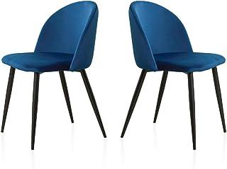 TUKAILAI 2 szt. aksamitne krzesło do jadalni krzesło wypoczynkowe miękkie aksamitne siedzisko i oparcie z metalowymi nóżka...