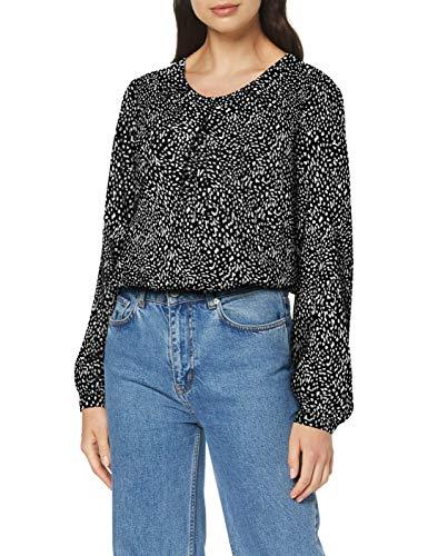 Seidensticker Damen Shirtbluse Langarm modern fit Gepunktet-100% Viskose Bluse, Mehrfarbig (Schwarz 38), Herstellergröße