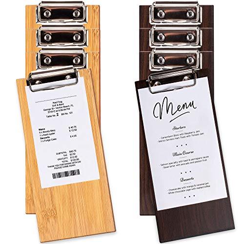 CUSINIUM [4 Dark + 4 Natural Color] Wood Check Presenters for Restaurants -...