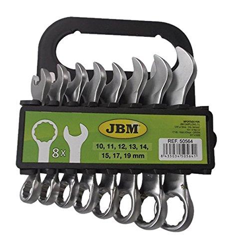 JBM 50564 Llaves combinadas cortas, plata, Set de 8 Piezas