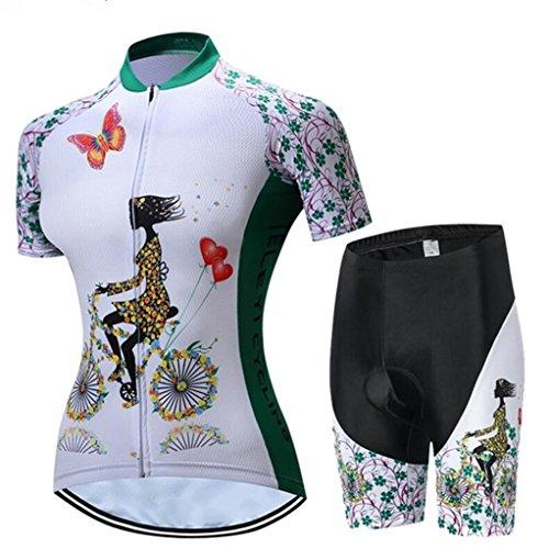 Radfahren Jersey Frauen Fahrrad Trikots Sport MTB Straßenberg Bluse Kurzarm Fahrrad T-Shirts Top Outdoor Reiten Jersey Fahrrad Jacke Weiß Grün Schwarz Größe L