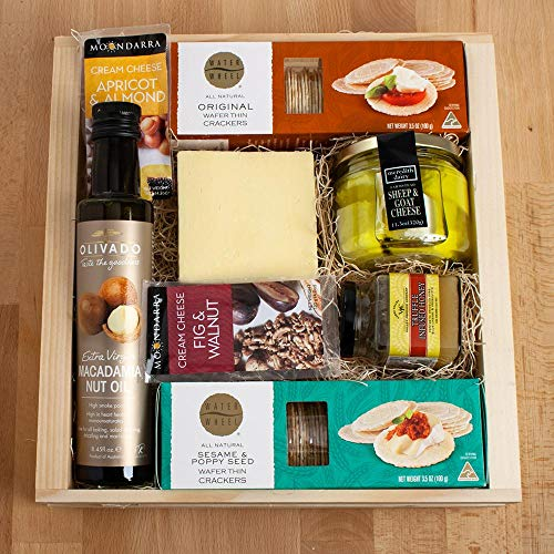 Australian Classic Gourmet Gift Basket - Collection For a Lover Of Australia's Cuisine - Cheese, Honey, Macadamia Nut Oil, and Australian Water Wheels. YUM!