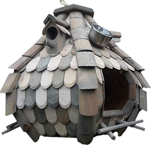 Naturholz-Schreinermeister Großes Solar Licht Vogelhaus Holz Bunt Vogelfutterhaus Vogelhäuschen K32S LED (Grau/Weiß)