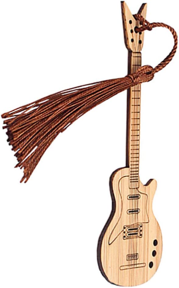 TOYANDONA Wooden Book Marker Tassel Bamboo Guitar Albuquerque Mall Cheap mail order specialty store Shape Bookmark