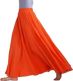 FEOYA Women's Vintage Cotton Linen Long Maxi Skirt Two-Layer A-Line Elastic Waist Bohemian Style