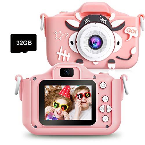 PELLOR Kamera Kinder Digitalkamera Videokamera mit 20MP 2 Inch Bildschirm 1080P HD32G Speicherkarte fotoapparat Kinder Geschenk fur 3 10 Jahre Jungen MadchenRosa