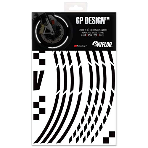VFLUO GP Design™, Motorrad Retro reflektierende Felgenrandaufkleber Kit (1 Felge), 3M Technology™, 7mm breit, Schwarz