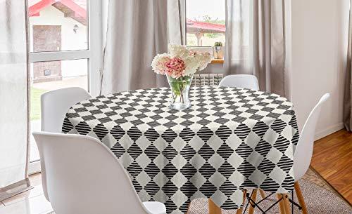 ABAKUHAUS Streep Rond Tafelkleed, Ruiten met golvende lijnen, Decoratie voor Eetkamer Keuken, 150 cm, Eierschaal Charcoal Grey