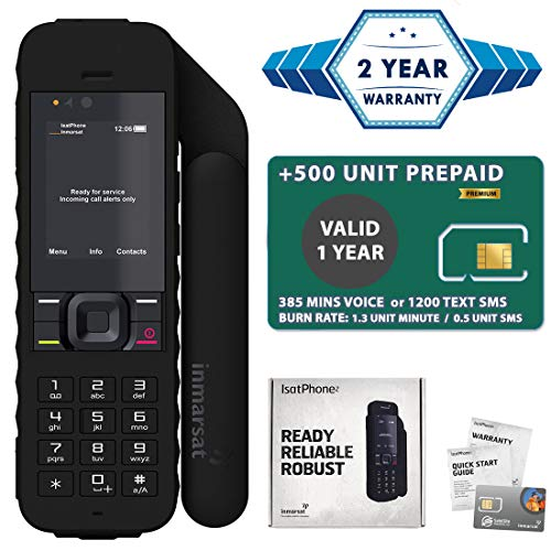 2019 Unlocked IsatPhone 2.1 Satellite Phone with 500 Unit Prepaid SIM Card Valid 1 Year - Voice, SMS, GPS Tracking, Emergency SOS Global Coverage - Water Resistant