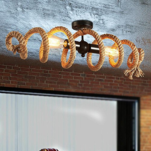 Hanfseile Deckenleuchte Retro, Vintage Ring Seil Deckenlampe - Industry Decorative lampe - 2-Flammig - E27 - Max. 60W - Eisen - für Cafe Bar Schlafzimmer, L70cm