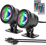 Submersible LED Lights Underwater 2Pack,Waterproof Outdoor Pond Lights with Remote Control,16 Color Changing Landscape Light Dimmable Spotlight for Aquarium Garden Pool Fountain Waterfall