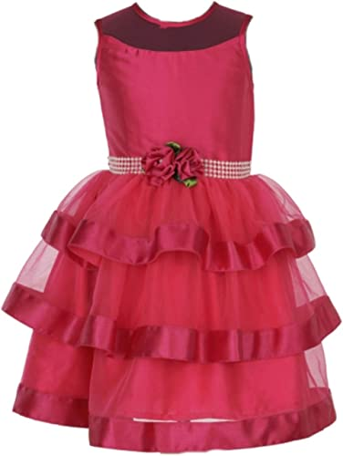 Je T Aime Mumum Pink Net and Satin Fabric Knee Length Dress for 1 4 Year Girls