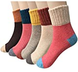 Loritta 5 Pairs Womens Vintage Style Winter Warm Thick Knit Wool Cozy Crew Socks Multicolor 02.