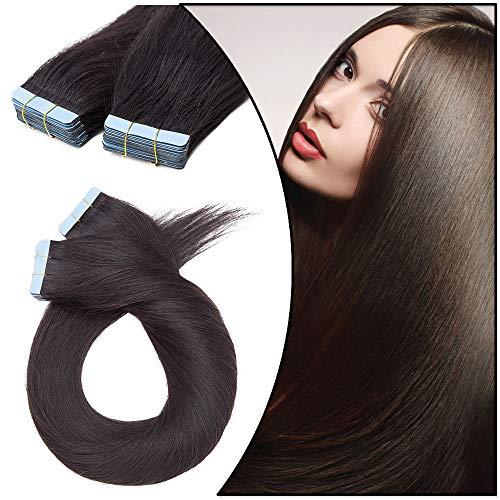 Extension Adhesive Cheveux Naturel 40 Pcs - Rajout Cheveux Humain à Invisible Bande Adhesive (#1B NOIR NATUREL, 40 cm-100 g)