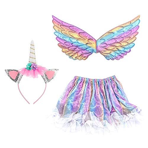 3 pezzi Costume da unicorno per ragazza JOOPOM Abito da unicorno per ragazza Ali d'angelo Fasce per unicorno Articoli di compleanno Cosplay