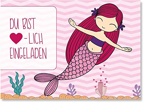 younikat 15 Einladungskarten mit Meerjungfrau Motiv I 3-er Set in DIN A6 I Kinder-Geburtstag Einladung zum Ausfüllen I für große und kleine Kinder Mädchen I dv_726
