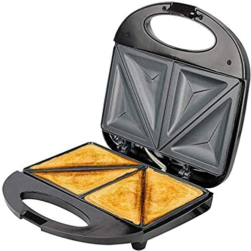 CJDM Máquina para Hacer gofres, máquina eléctrica Antiadherente para Hacer gofres, Desayuno, sándwiches, compacta y portátil, 2 rebanadas, Negro