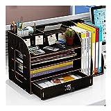 Riyyow Bookend Supports Desk Organizer Storage Box Desktop Estantería con cajones de Bloqueo Todos en One Oficial Suministros Accesorios Decoración Librería (Color : Black)