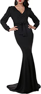 Women's Mermaid V-Neck Long Sleeve Halloween Party Maxi Dress with Belt