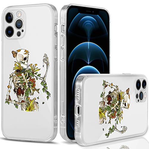 iPhone 12 Pro Max Case Clear Slim Soft TPU Cover Full-Body Protective Flexible Bumper Crystal Case with Sugar Skull Design Classical Edges Phone Shell for iPhone 12 Pro Max 6.7 Inch