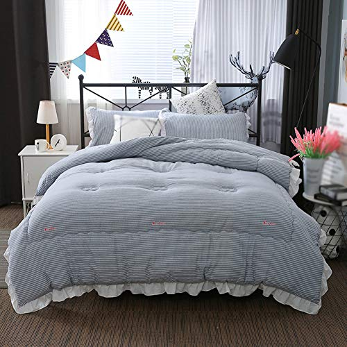 JXING Winter Thicken Duvet Washed Cotton Fabric Anti-allergy Down Filled Core Super Soft Cosy Breathable Warm Single Double Quilt, Suitable for Home Use