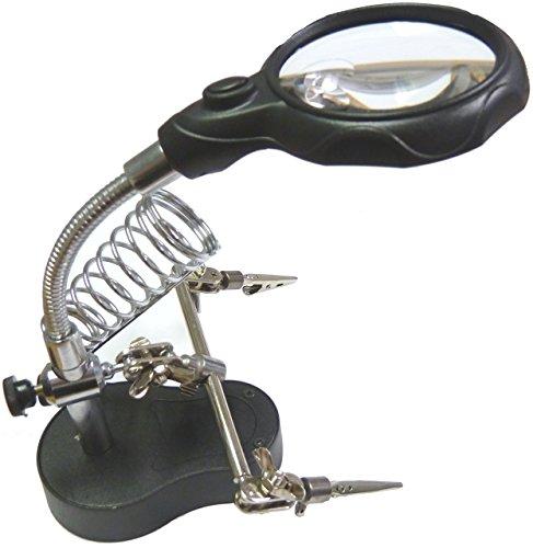 TOOGOO(R)Nuevo 3.5x12x 3er Lupa de lente soporte de hierro LED de soldadura aumento de mano auxiliar