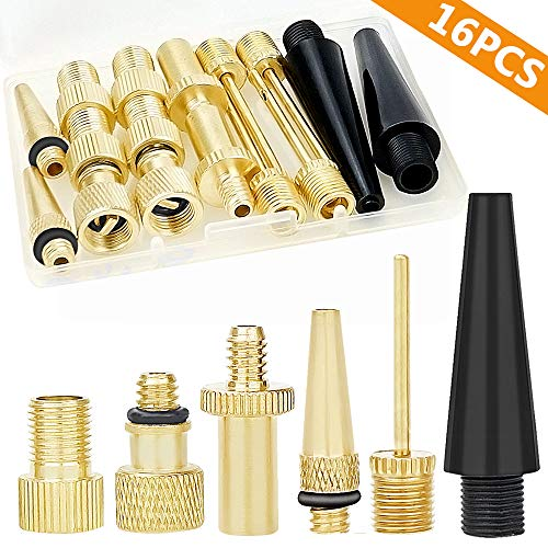 Hyacinth 16PCS Premium Brass Presta and Schrader Valve Adapter, Bike Tire Valve Adapters, Ball Pump Needle, Adapters Kit as Inflation Devices and Accessories fit for standard pump or Air Compressor