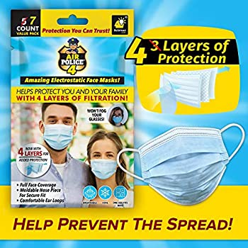 As Seen On TV Air Police Face Masks with 4 Layers of Protection by BulbHead - Flexible Earloop Mask with Customizable Nose Piece - Face Mask Helps Keep You Safer Cool & Breathable Won't Fog Glasses