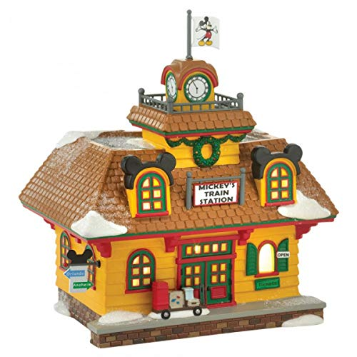 Department 56 Mickey's Holiday Train Station A30087 Mickey Mouse's Christmas Village Series