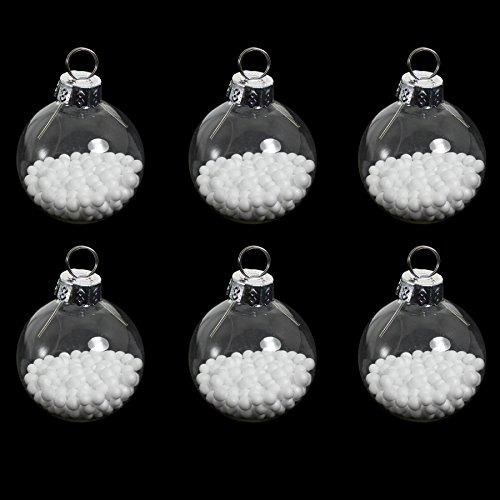 Premier Set van 6 Glazen Bauble Tafel Plaats Kaarthouder - Helder met Sneeuw