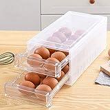 Egg Holder for Refrigerator 24 Grid,Drawer Type Egg Storage Box Plastic Egg Fresh Storage Container Egg Organizer Case for Fridge