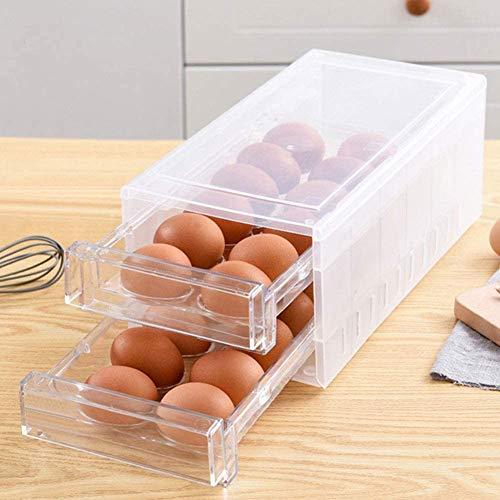 Egg Holder for Refrigerator 24 Grid,Drawer Type Egg Storage Box Plastic Egg Fresh Storage Container...